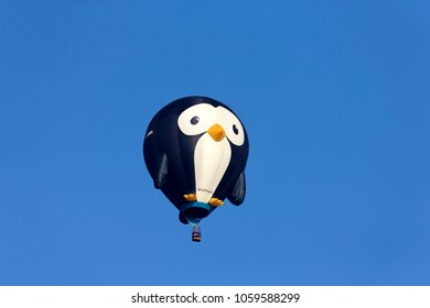 Longleat, Wiltshire, UK - September 18, 2016: A penguin shaped hot air balloon