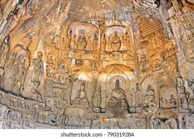 Longmen Grottoe : The Binyang Cave. The world heritage site, Chinese Buddhist art. Located in Louyang, Henan province China. Selective focus.