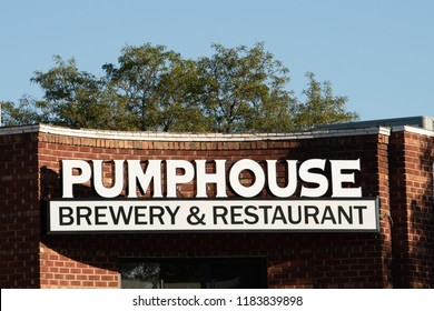 Longmont, Colorado - September 15, 2018: Front of Pumphouse Brewery and Restaurant in downtown Longmont, Colorado