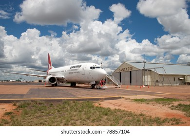 LONGREACH, AUSTRALIA  - NOVEMBER 20: A Qantas 737 returns to the hanger on Nov. 20, 2010 in Outback in Longreach, Australia where the company was founded. Qantas is the world's oldest operating airline and recently celebrated 90th anniversary of service.