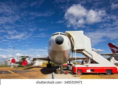 Longreach, Queensland, Australia - April 23, 2019: Qantas Founders Museum. Qantas Boeing 707 VH-XBA jet aircraft on display. The first civilian jet aircraft in Australia.