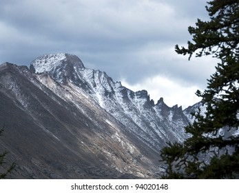Long's Peak in Rocky Mountain National Park, under brewing storm clouds