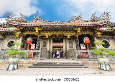 Longshan Temple in Taipei, Taiwan.(The foreign text is mean Longshan in English)