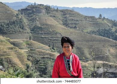LONGSHENG PING AN, GUANGXI AUTONOMOUS REGION, CHINA – CIRCA JUNE 2016: Portrait of the long hair woman from ethnic minority Yao in Guangxi autonomous region in China.