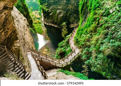 Longshuixia Fissure Gorge in Wulong country, Chongqing city, southwest China, It is a typical karst landscape and fantastic nature place