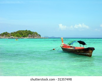 Long-tail boat in Andaman sea, Lipe island, Thailand