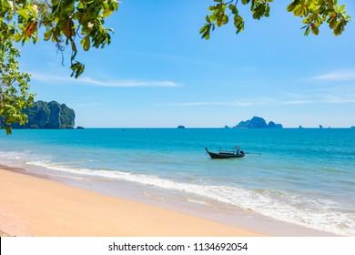 Longtail Boat In Sea At Aonang Beach