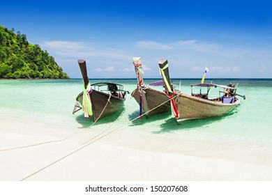 Longtail boats at the beach, Thailand island