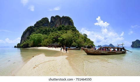 Longtail boats at Koh Pak Bia near Koh Hong, in the Phang Nga Bay, in the Andaman Sea, Thailand. April 30, 2015.
