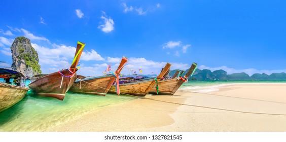 Longtail boats at Poda island near Ao Nang ,Krabi Thailand.