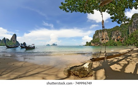 Longtail boats at Tonsai beach, between Ao Nang beach and Railay beach in the Andaman Sea, Krabi province, Thailand