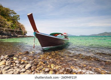 Long-tailed boat on tropical island, Koh Lipe, Andaman sea, Thailand