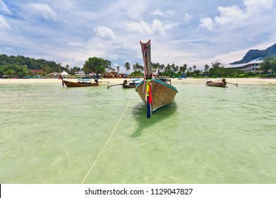 Longtale boat near the beach at Phi Phi islands, Thailand