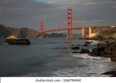 Longtime exposure of Golden Gate Bridge in evening light