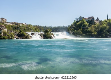 Longtime exposure shot of the rhine falls in switzerland
