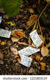 Longton, Stoke on Trent, Staffordshire - 2nd November 2018 - discarded drug substitute packages, Prefibin, Buprenorphine chronic pain relief, Heroine addiction
