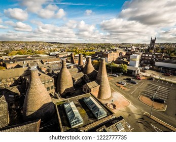 Longton, Stoke on Trent, Staffordshire - 5th November 2018 - Aerial view of the famous bottle kilns at Gladstone Pottery Museum in Stoke on Trent, Pottery manufacturing, Image 3 of 27