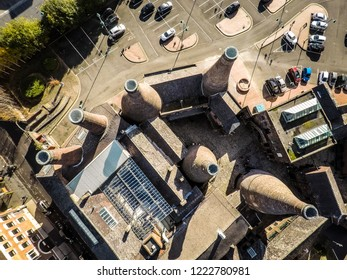 Longton, Stoke on Trent, Staffordshire - 5th November 2018 - Aerial view of the famous bottle kilns at Gladstone Pottery Museum in Stoke on Trent, Pottery manufacturing, Image 10 of 27