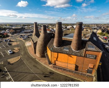 Longton, Stoke on Trent, Staffordshire - 5th November 2018 - Aerial view of the famous bottle kilns at Gladstone Pottery Museum in Stoke on Trent, Pottery manufacturing, Image 21 of 27
