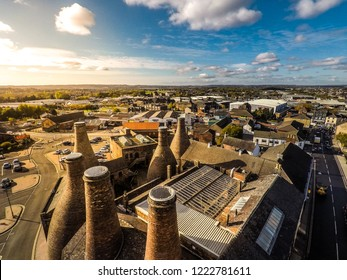 Longton, Stoke on Trent, Staffordshire - 5th November 2018 - Aerial view of the famous bottle kilns at Gladstone Pottery Museum in Stoke on Trent, Pottery manufacturing, Image 15 of 27