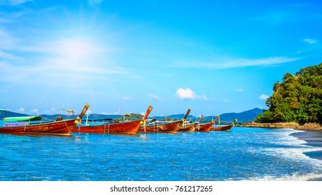 Longtrail boat in MAYA Bay Phi Phi Islands Andaman sea  Krabi Thailand
