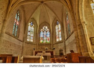 Longueil, France - july 17 2015 : stained glass window of the church