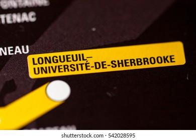 Longueil-Universite-De-Sherbrooke Station. Montreal Metro map.