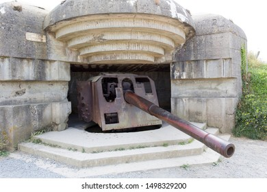 LONGUES SUR MER, FRANCE - AUGUST 14: world war defence battery at longues sur mer on August 14, 2018