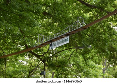 Longview, WA/USA - 7/2/18: Nutty Narrows Bridge, built by Amos Peters in 1963. Relocated in 2007 to the site of the Monticello Convention,