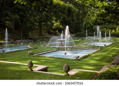 Longwood Gardens, Kennett Square, Chester County, Pennsylvania, USA – August 3, 2016: Fountains on the Italian Water Garden