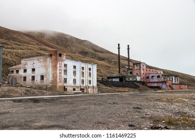 Longyearbyen, Svalbard, Norway - August 14th, 2018: Abandoned power station building at the Russian arctic settlement Pyramiden.