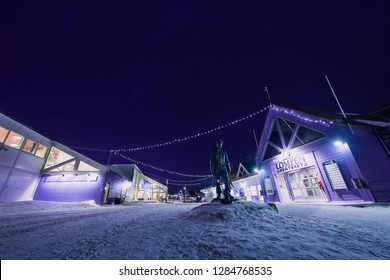 Longyearbyen, Svalbard / Norway - january 12 2019: The polar arctic Northern lights aurora borealis sky star    in  the moon mountains
