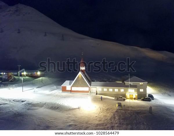 Longyearbyen Town On Spitsbergen Island Svalbard Stock Photo