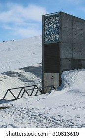 LONGYEARBYEN,SVALBARD, NORWAY - 19 May 2015. The inconspicuous entrance to the Svalbard Global Seed Vault built into an abandoned arctic coal mine. The vault preserves the global seed biodiversity.