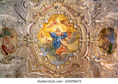 Lonigo, Italy - June 6, 2017: Painting decorated ceiling of an ancient Christian church.