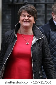 LONJDON - NOV 21, 2017: DUP Leader Arlene Foster seen leaving 10 Downing Street in London