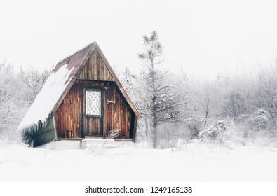 Lonley abandoned house in winter forest.