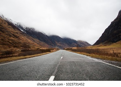 A lonley road in the scottish highlands