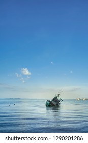 Lonliness scene of sunken ship in Koh Chang, Trad province, Thailand.