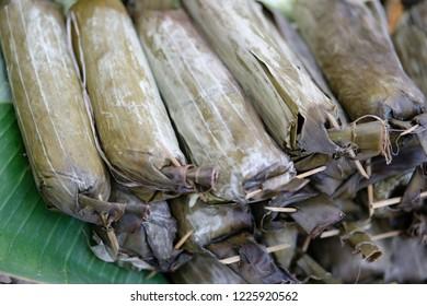 """lontong"" indonesian rice roll"