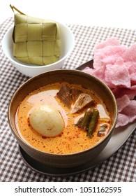 Lontong Sayur Padang, vegetables stew with compress rice West Sumatran style.