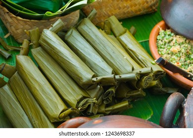 lontong traditional food wrapped in banana leaf from central java indonesia