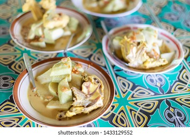 Lontong Tuyuhan is traditional specific food from Lasem subdistric, Rembang, Central java, Indonesia. Made from chicken curry and coconut milk sauce