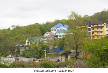 Loo, Krasnodar Krai, Russia- April 18, 2015: Landscapes of the village in early spring. Loo is one of the areas of Greater Sochi on the Black sea