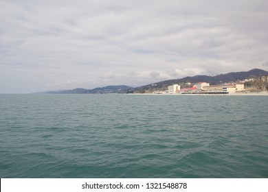 Loo, Krasnodar Krai, Russia- March 24, 2017: Resorts and holiday homes on The black sea in the vicinity of Sochi. Landscapes villages Uch-Dere, Loo and Dagomys on a cloudy day from the sea