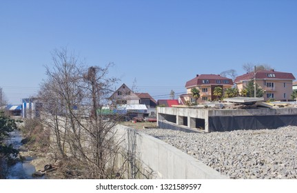 Loo, Krasnodar Krai, Russia- March 24, 2017: Landscapes of the village in early spring. Loo is one of the areas of Greater Sochi on the Black sea