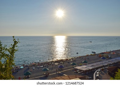 LOO, SOCHI, KRASNODAR REGION, RUSSIA - AUGUST 23, 2015: Sun over the Black sea.