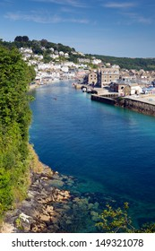 Looe Cornwall England with blue sea on sunny summer day