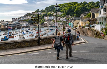 LOOE, Cornwall, England, UK - September 10 2018: Looe a very popular fishing port and  Beach Holiday Resort full of Hotels, Attractions, and Restaurants.