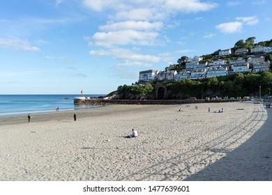 Looe, Cornwall, UK - 12/07/19. A view across Looe beach.